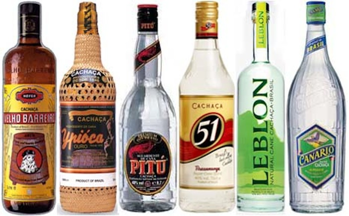 Some of the various brands of cachaça found in Brasil (image credit: cocktailfiesta.com)