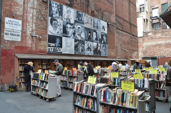 Browsing a book sale downtown